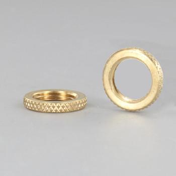 5/8in Diameter - 1/8-27ips Threaded Knurled Brass Flat Locknut