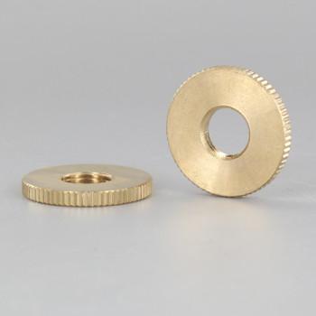 1in Diameter - 1/8ips Threaded Knurled Flat Brass Nut