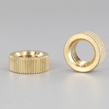 5/8in Diameter HD 1/4in Thick 1/8-27ips Threaded Knurled Flat Brass Nut