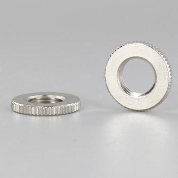 3/4in Diameter - 1/8ips Threaded Knurled Flat Brass Nut - Polished Nickel Finish