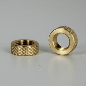 1/8ips - 5/8in Diameter X 15/64in Thick Diamond Knurled Brass Round Nut