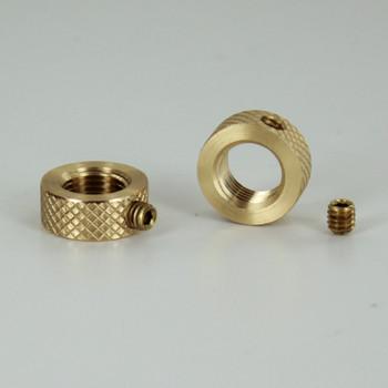 1/8ips - 5/8in Diameter X 1/4in Height Diamond Knurled  Brass Nut with Locking Set Screw