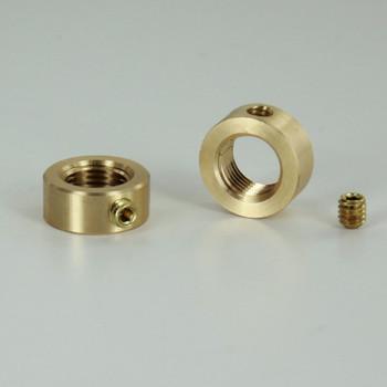 1/8ips - 5/8in Diameter X 1/4in Height Smooth Brass Nut with Locking Set Screw