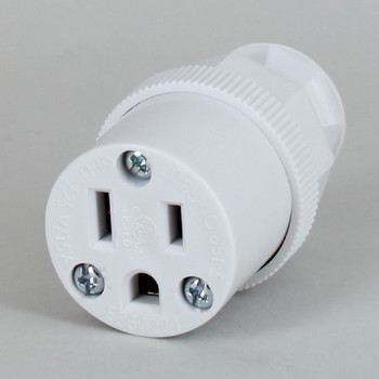 White - Antique Style Decorative Grounded Outlet with Screw Terminal Wire Connections