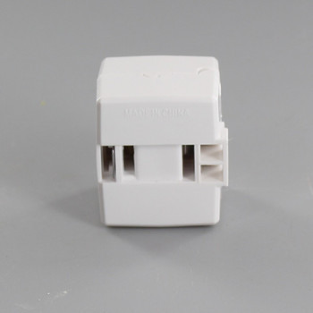White - Polarized Add-an-End Click-On Female Cord End Outlet for 18-2 SPT-1 and SPT-2 Wire