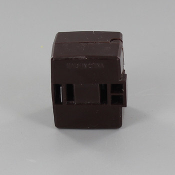 Brown - Polarized Add-an-End Click-On Female Cord End Outlet for 18-2 SPT-1 and SPT-2 Wire