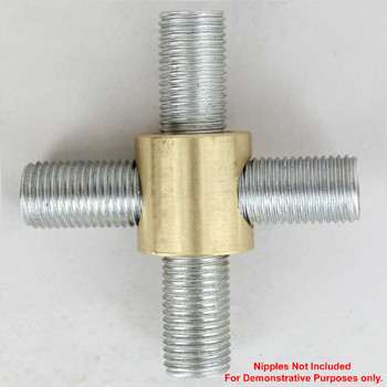 1/4ips Threaded - 7/8in Diameter 4-Way Straight Armback - Unfinished Brass