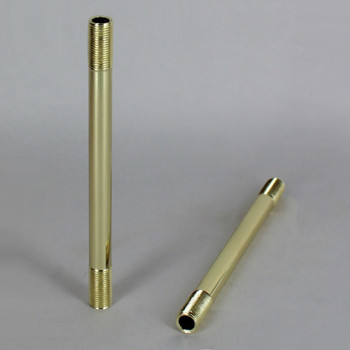 11-1/2in. Long 1/8ips (3/8in O.D) Brass Plated Finish Round Hollow Pipe with 1/8ips Male 3/4 inch long thread on both ends.