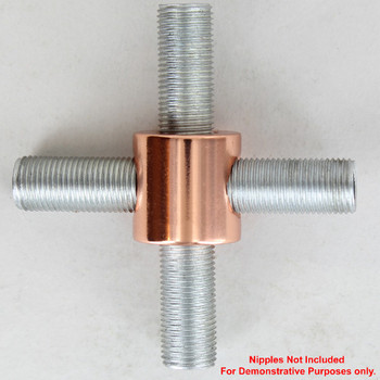 1/8ips Threaded - 3/4in Diameter 4-Way Straight Armback - Polished Copper