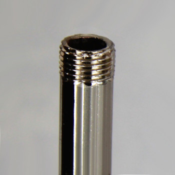 12in Long X 1/8ips (3/8in OD) Male Threaded Polished Nickel Finish Steel Reeded Pipe