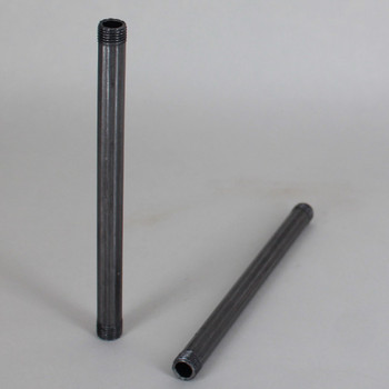 12in Long X 1/8ips (3/8in OD) Male Threaded Unfinished Steel Reeded Pipe