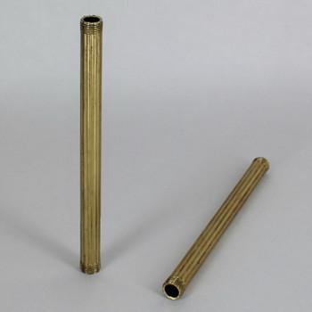 12in Long X 1/8ips (3/8in OD) Male Threaded Brass Reeded Pipe