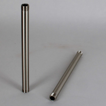 12in Long X 1/8ips (3/8in OD) Male Threaded Brushed/Satin Nickel Finish Steel Pipe