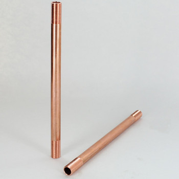 12in  X 1/8ips Threaded Unfinished Copper Pipe with 3/4in Long Threaded Ends.