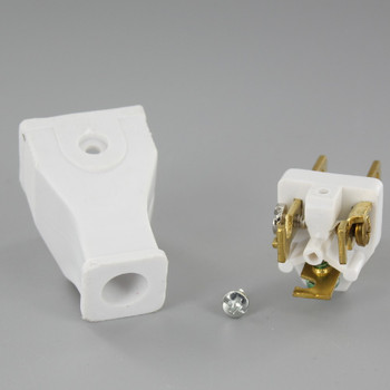 White - 3-Wire Grounded Thermoplastic Plug with Screw Terminal Connection