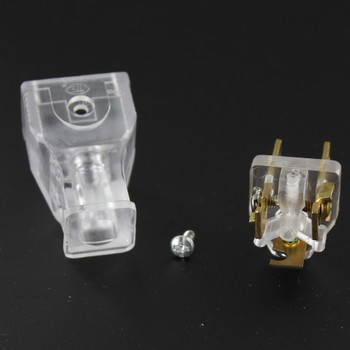 Clear - 3-Wire Grounded Thermoplastic Plug with Screw Terminal Connection