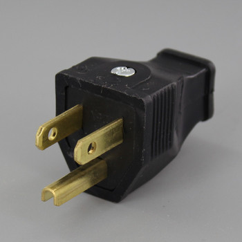 Black - 3-Wire Grounded Thermoplastic Plug with Screw Terminal Connection