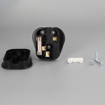 Black - Euro 3 Prong Grounded Plug