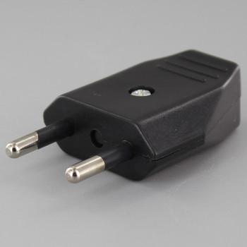 Black - Non-Polarized 2-Pin European Europlug