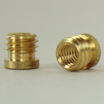 8/32 Female X 1/4-27 Male Thread Unfinished Brass Reducer with Shoulder