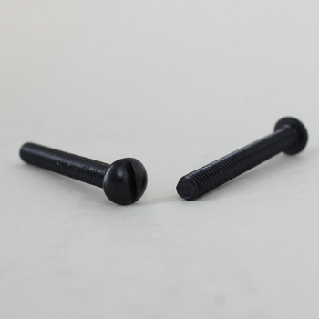 1-1/2in Long - 8/32 Thread Black Oxide FInish Steel Round Slotted Head Screw