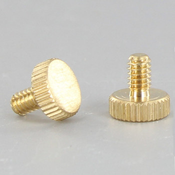 1/4in. Long 8/32 Thread Unfinished Brass Flat Knurled Head Screw