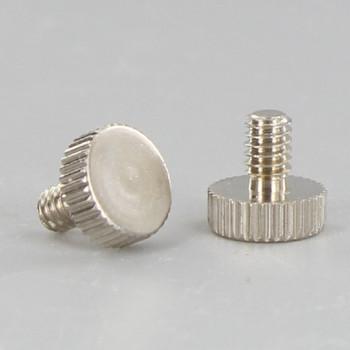 1/4in Long - 8/32 Thread Polished Nickel Finish Flat Knurled Head Screw