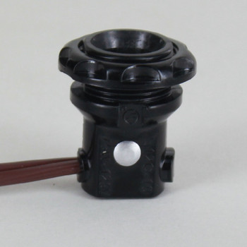 E12 base, Phenolic Candelabra Socket Threaded Body with Plastic Ring and 24in. Wire Leads