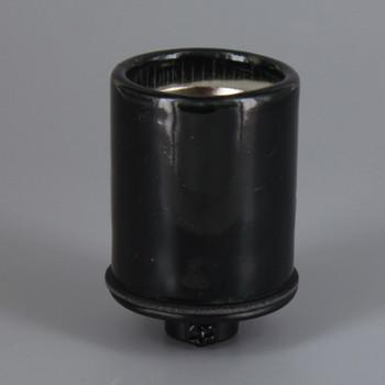 Black Glazed E-26 Base Porcelain Keyless Socket with Screw Terminals