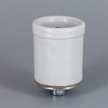 E-26 Base Glazed White Shoulder Skirt Porcelain Grounded Lamp Socket with 1/8ips Threaded Cap