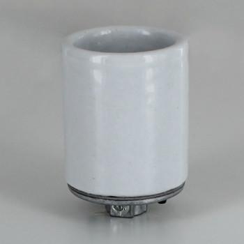 (Leviton 10035) Porcelain E-26 Medium Base Keyless Lamp Socket with Spring Center Contact 1/8ips