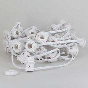 E-12 base White Phenolic Candelabra 50 Socket Harness Set with Threaded Body and Ring