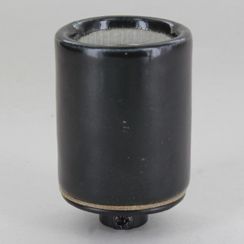 1/8ips Cap - Grounded Black Glazed Porcelain E-26 Lamp Socket with Screw Terminal Wire Connections