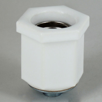 White Porcelain Hexagon E-26 Base Lamp socket with 1/8ips threaded cap
