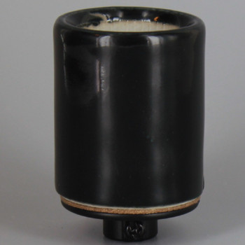 Heavy Duty Black E-26 Base Porcelain Grounded Lamp Socket with Easy Wire Terminal and 1/8ips. Cap