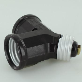 Leviton - Brown Single Lampholder to Twin Lampholder Adaptor for E-26 Sockets