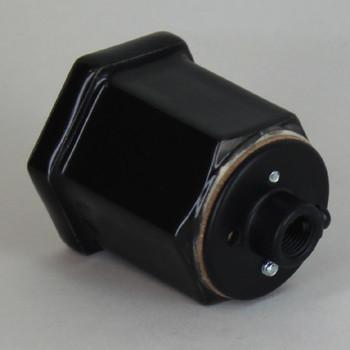 Black Porcelain Hexagon Lamp socket with 1/8ips threaded cap.