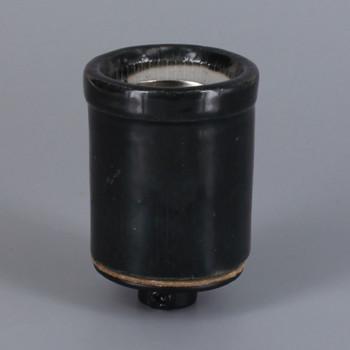 E-26 Base Glazed Black Shoulder Skirt Porcelain Grounded Lamp Socket with 1/8ips Threaded Cap