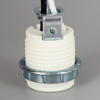 1-1/2in Tall E-12 Threaded Porcelain Socket With 105 Degree 18AWG Leads And 1/8ips Hickey