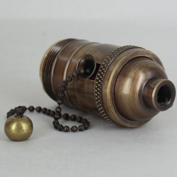 Antique Brass Finish Shell Uno Threaded E-26 Base Brass Pull Chain Socket