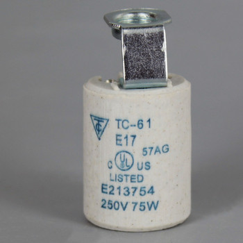 E-17 Base Porcelain Socket with 1/8ips. Hickey and Screw Terminal Wire Connections