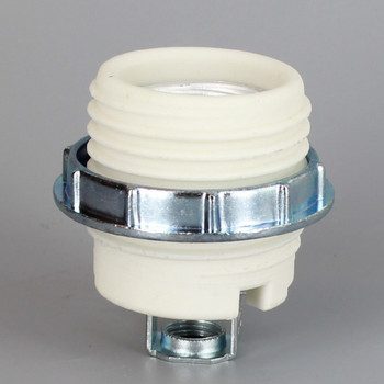 E-26 Porcelain Threaded Skirt Socket With 1/8ips Hickey And Screw Terminal Wire Connection