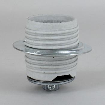 Leviton Brand E-26 Medium Base Porcelain Threaded Skirt Lamp Socket with 1/8ips Cap.