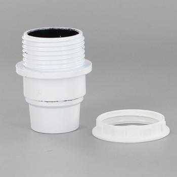 E-12 White Candelabra Base Phenolic Threaded Socket with Shoulder and Ring