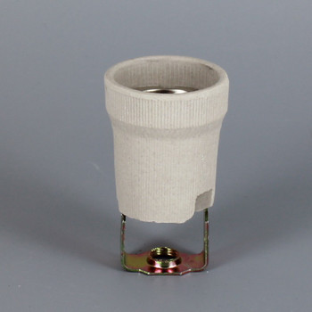 2-3/4in. E-26 Base Porcelain Lamp Socket with Screw Terminal Connection and Removable 1/8ips. Hickey
