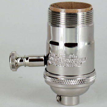 Nickel Plated Finish Full Range Dimmer Uno Threaded Shell Socket with 1/8ips. Cap