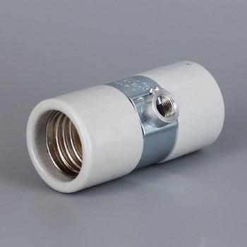 Import - E-26 Base Porcelain Keyless Twin Socket with 1/8-27ips. Double Bushing