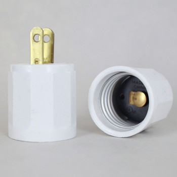 Leviton - White E-26 Base Outlet to Plug-In Lamp Holder