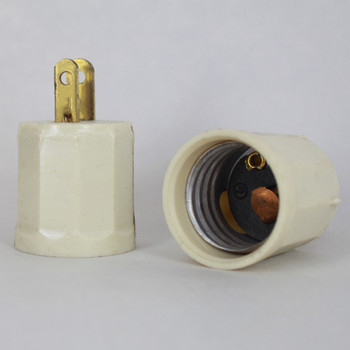 Leviton - Ivory E-26 Base Outlet to Plug-In Lamp Holder