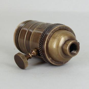 Antique Brass Finish Cast Brass Uno Thread Turn Knob 3-Way Socket with 1/8ips. Bushing and Set Screw